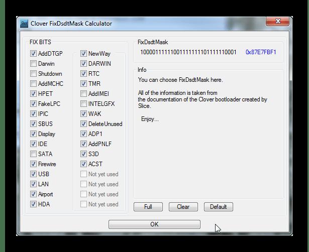 Clover FixDsdtMask Calculator