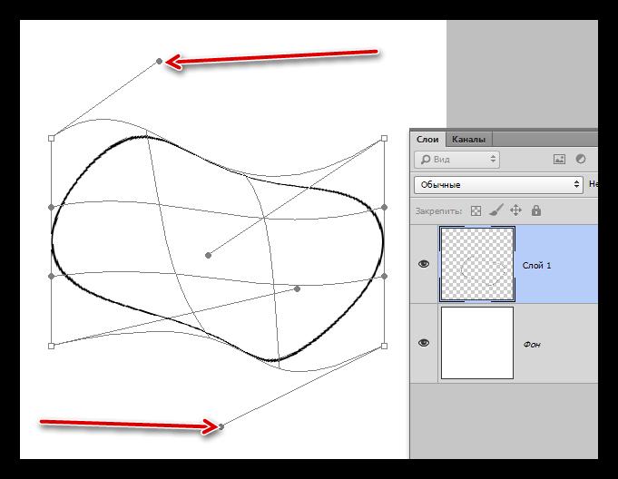 Деформирование линии созданной Овальной областью в Фотошопе
