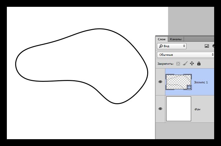Деформирование линии созданной инструментом Эллипс в Фотошопе