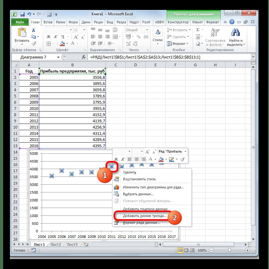 Добавление линии тренда в Microsoft Excel