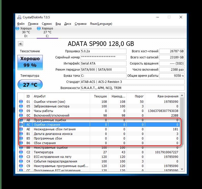 Другие параметры диска в CrystalDiskInfo