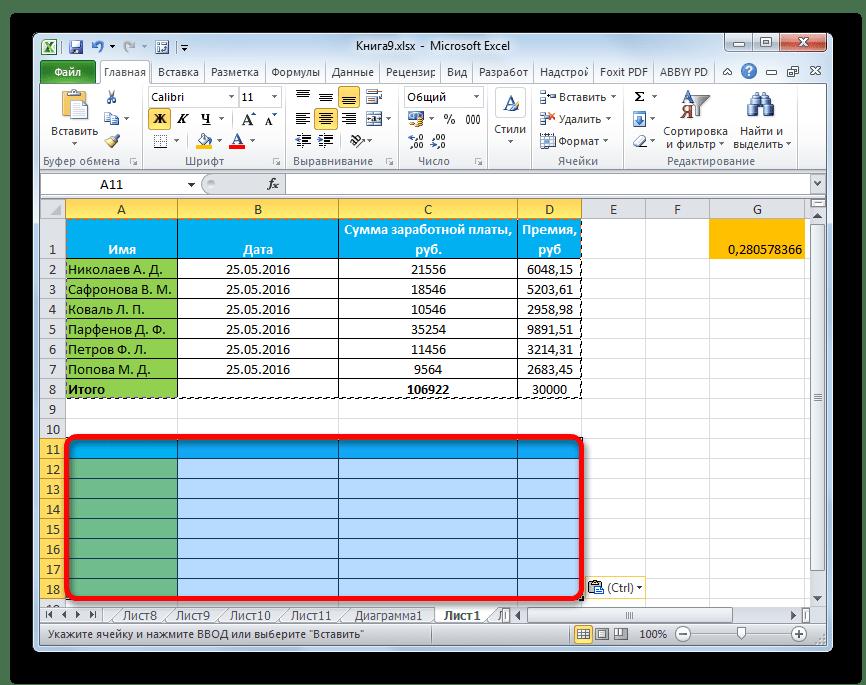 Формат вставлен в Microsoft Excel