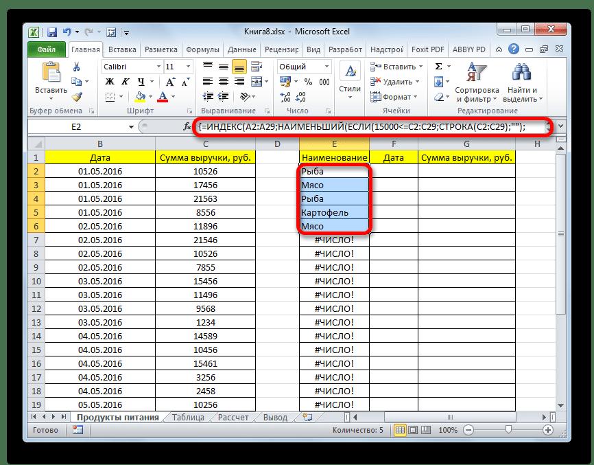 Формула массива введена в столбец наименований в Microsoft Excel