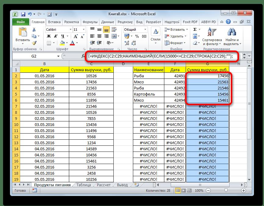 Формула массива введена в столбец выручки в Microsoft Excel