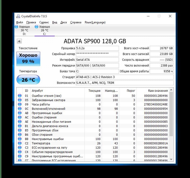 Главное окно CrystalDiskInfo