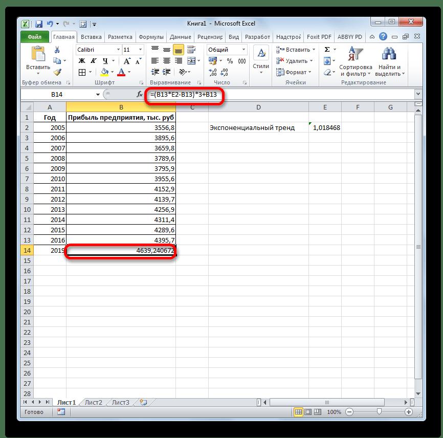 Итоговый расчет функции ЛГРФПРИБЛ в Microsoft Excel