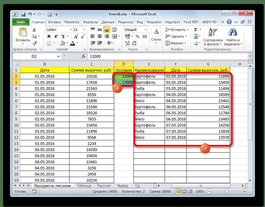 Изменение результатов выборки в Microsoft Excel