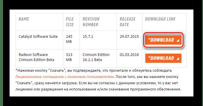 Кнопка загрузки драйвера Radeon