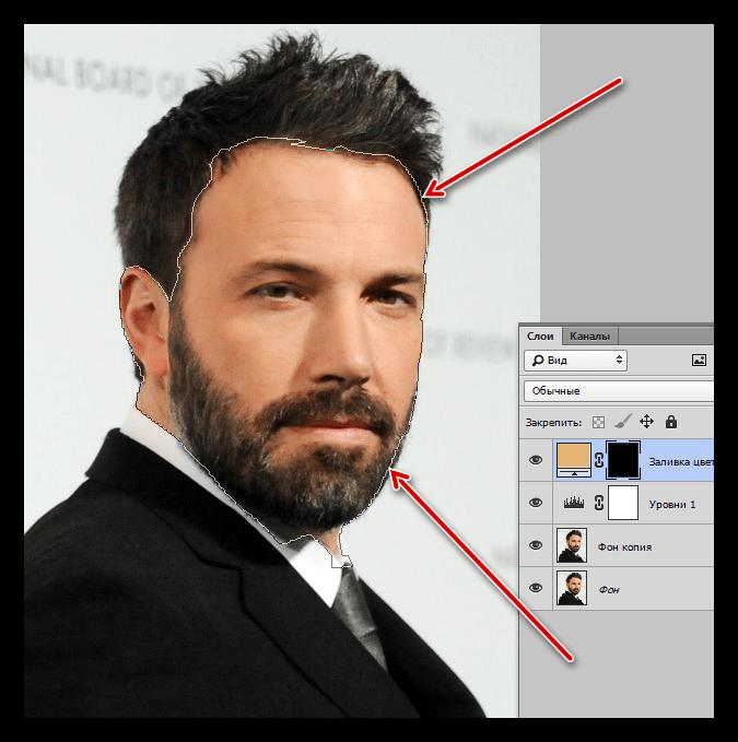 Контур инструмента Перо для создания мультяшного фото в Фотошопе