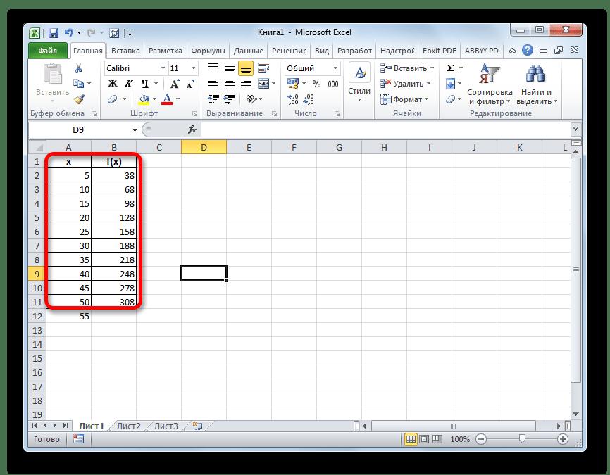 Массив данных в Microsoft Excel