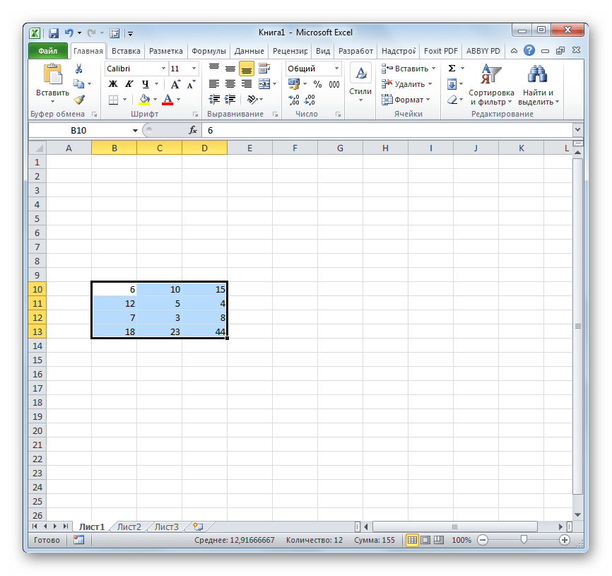 На листе одна матрица в Microsoft Excel