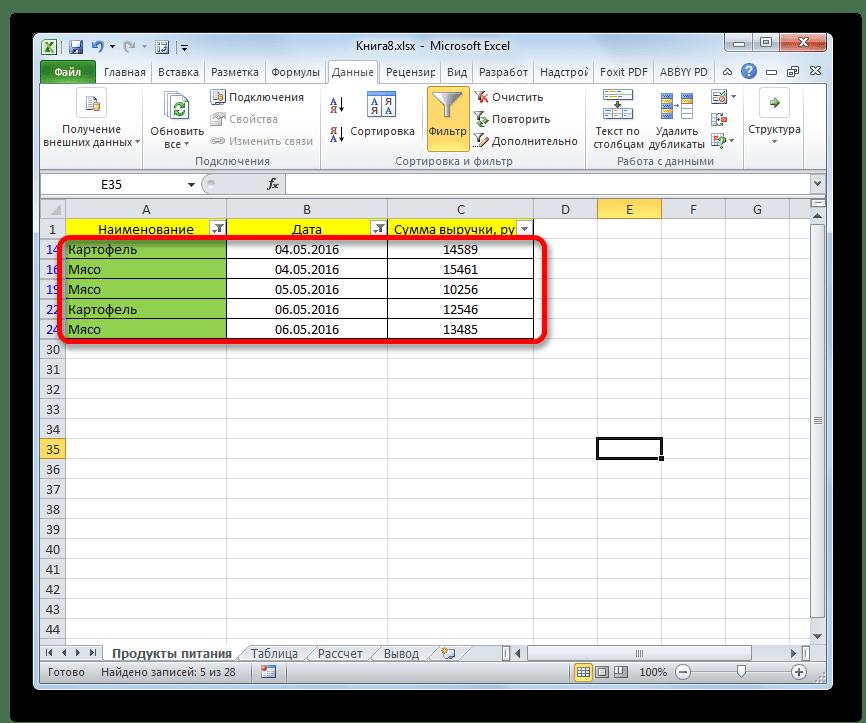 Ограничения по дате и по наименованию в Microsoft Excel