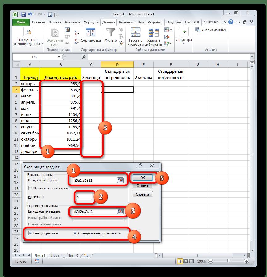 Окно инструмента Анализа данных Скользящее среднее в Microsoft Excel