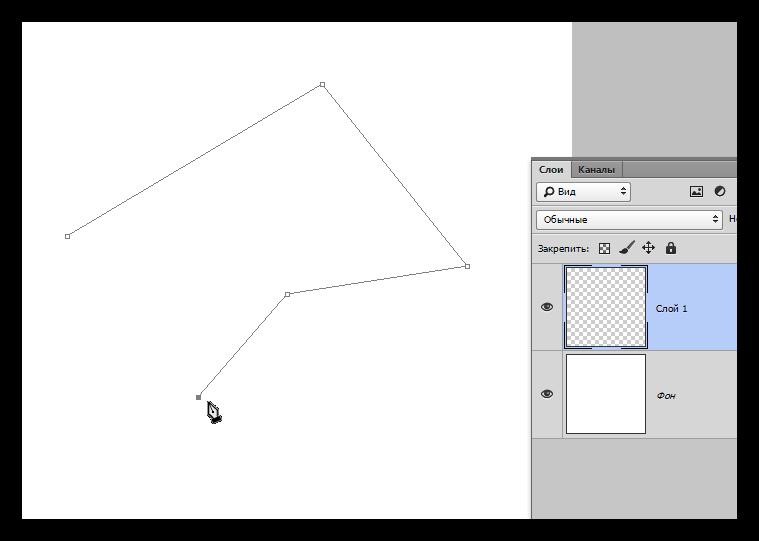 Опорные точки для ломаной линии инструмента Перо в Фотошопе