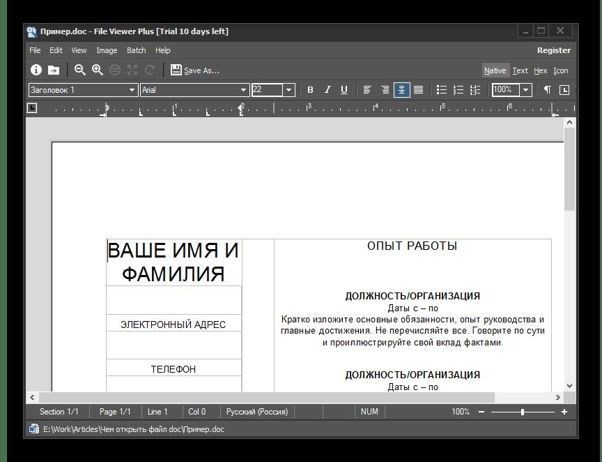 Просмотр документа в File Viewer