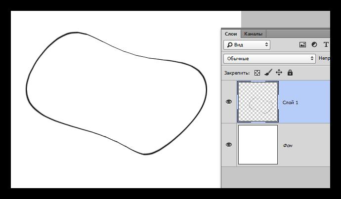 Результат деформации линии созданной Овальной область в Фотошопе