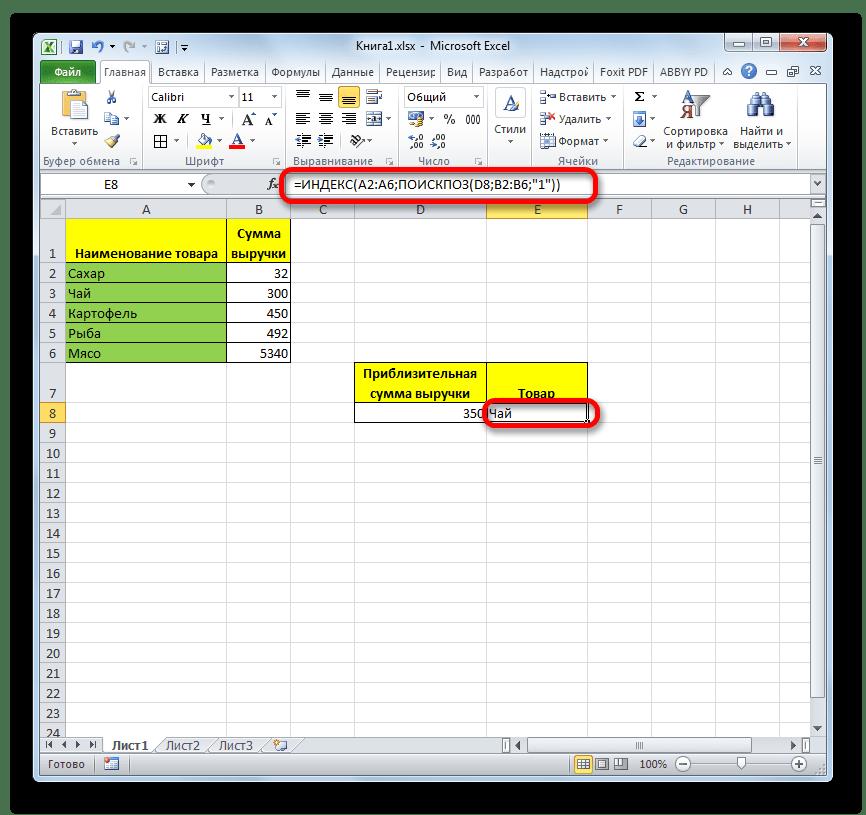 Результат функции ИНДЕКС в Microsoft Excel