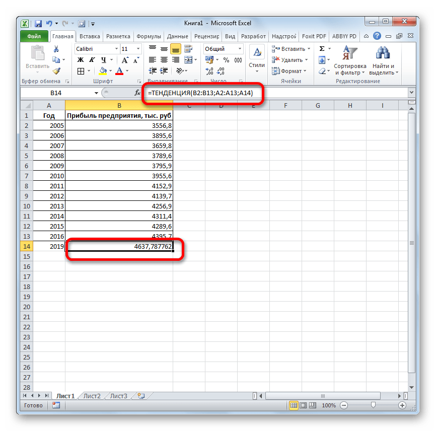 Результат функции ТЕНДЕНЦИЯ в Microsoft Excel