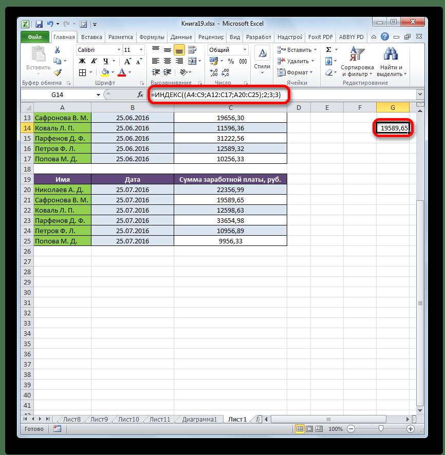 Результат обработки функции ИНДЕКС при работе с тремя областями в Microsoft Excel