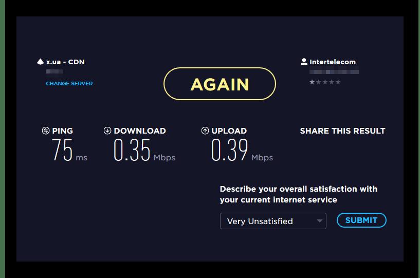 Результат проверки скорости на сайте Speedtest