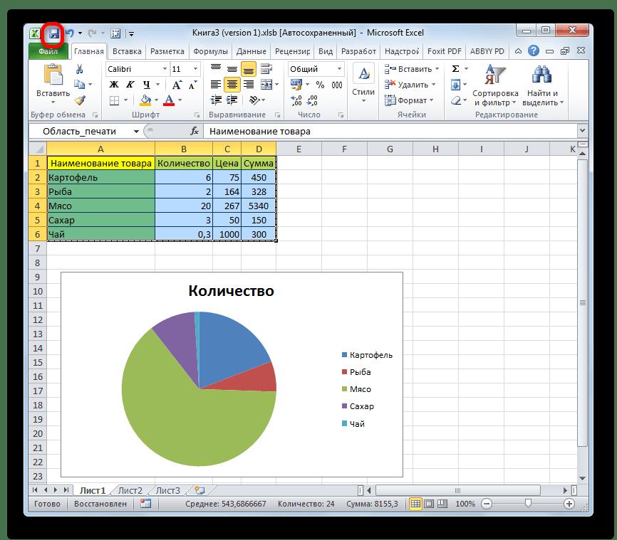 Сохранение изменений в файле в Microsoft Excel