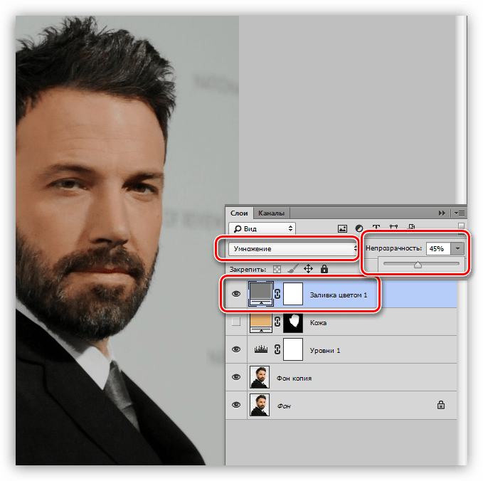 Создание нового корректирующего слоя Цвет при создании мультяшного фото в Фотошопе
