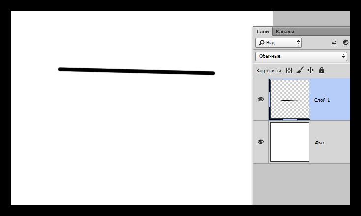 Создание первого элемента для построения ломаной линии в Фотошопе