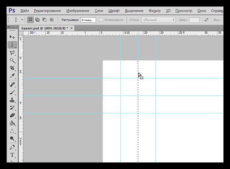 Создание выделения инструментом Область-вертикальная строка в Фотошопе