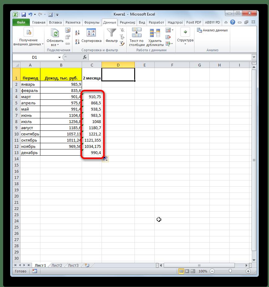 Среднее значение за 2 предыдущих месяца в Microsoft Excel