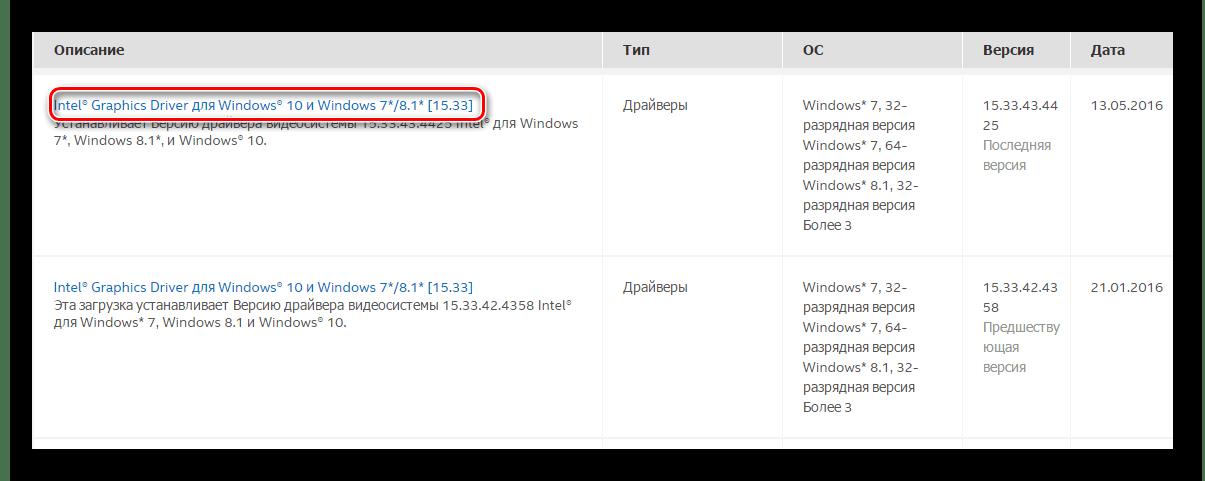 Ссылка на страницу загрузки драйвера Intel