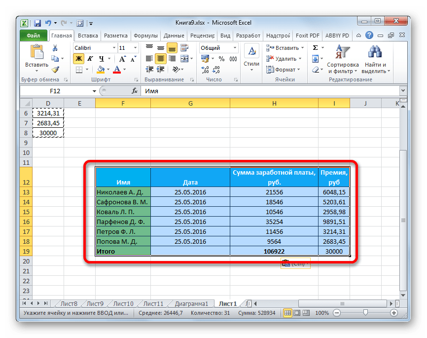 Таблица с сохранением исходной ширины столбцов вставлена в Microsoft Excel