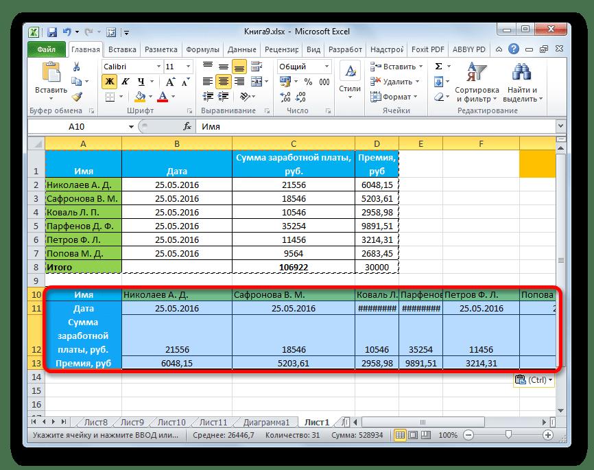 Транспонированная таблица в Microsoft Excel