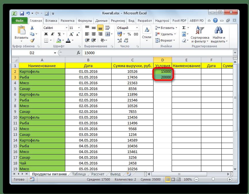 Условия в Microsoft Excel