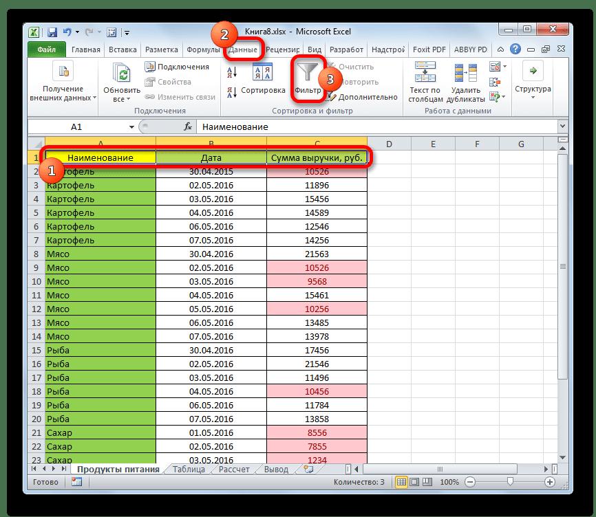 Включение фильтрации для отформатированной таблицы в Microsoft Excel