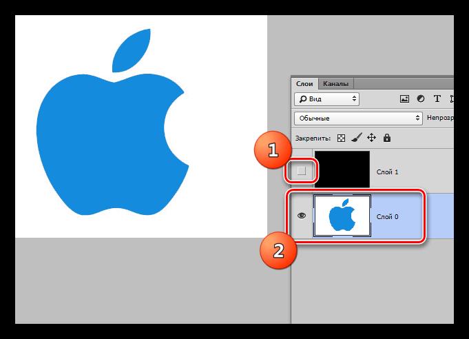 Внятие видимости со слоя с фоном и переход на исходный в Фотошопе