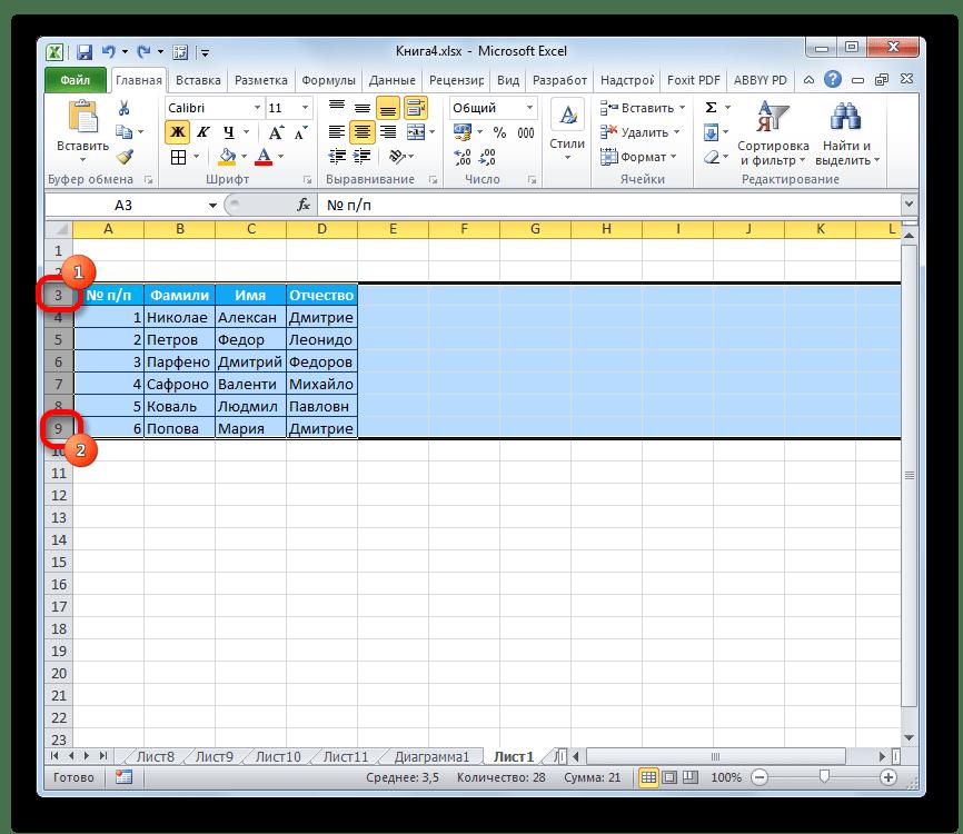 Выделение диапазона вторым способом в Microsoft Excel