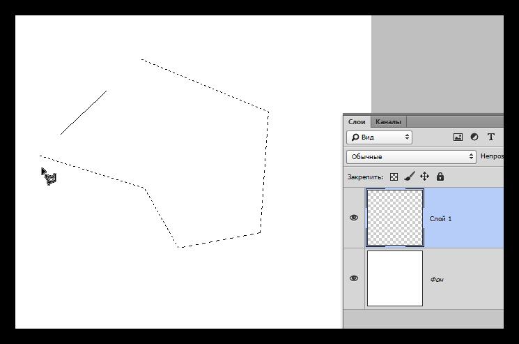 Выделение инструментом Прямолинейное лассо в Фотошопе