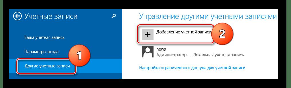 Windows 8 Добавление учетной записи