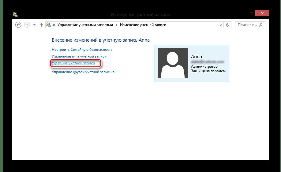 Windows 8 Изменение учетной записи