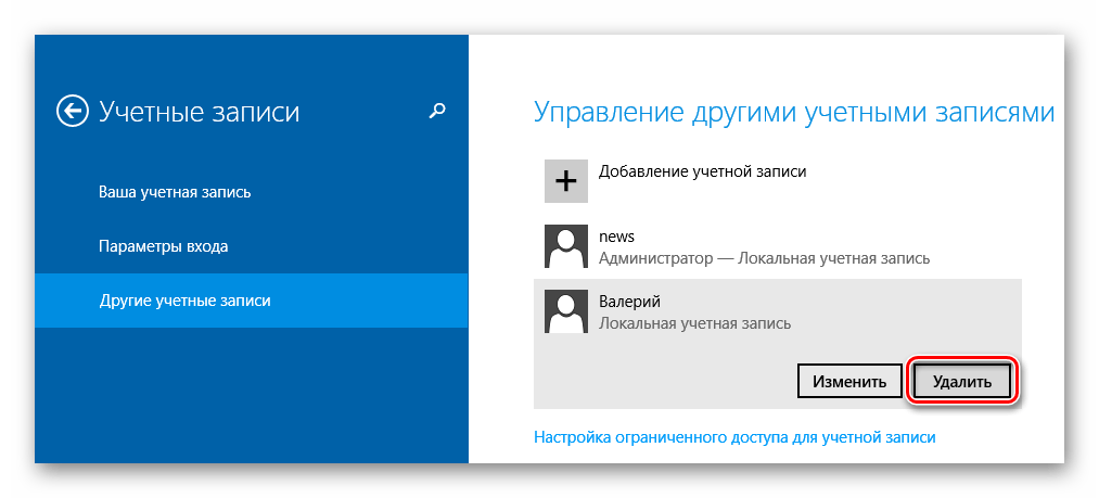Windows 8 Удаление пользователя