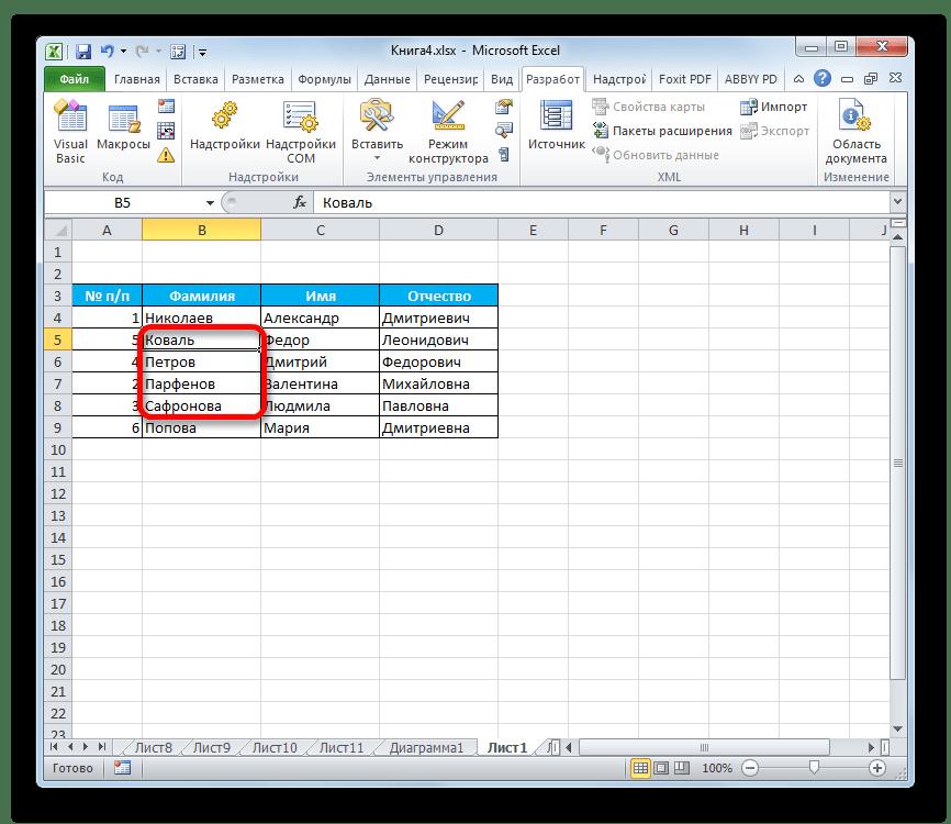 Ячейки перемещены со сдвигом диапазона в Microsoft Excel