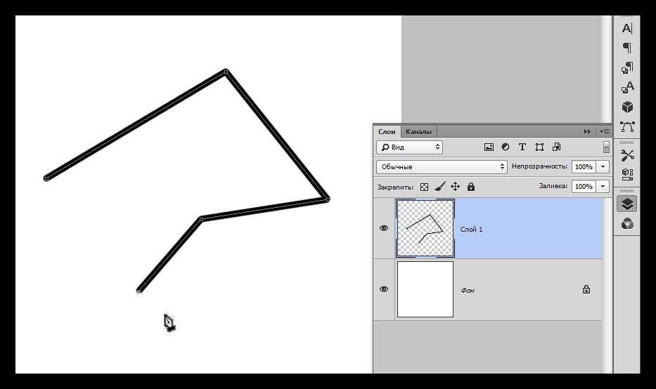 Заливка контура созданного инструментом Перо в Фотошопе