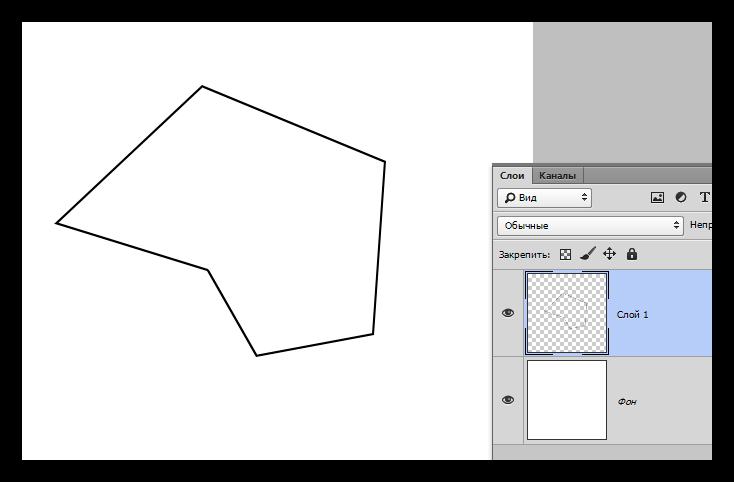 Замкнутая ломаная линия созданная инструментом Прямолинейное лассо в Фотошопе