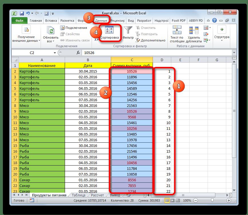 Запуск окна сортировки в Microsoft Excel