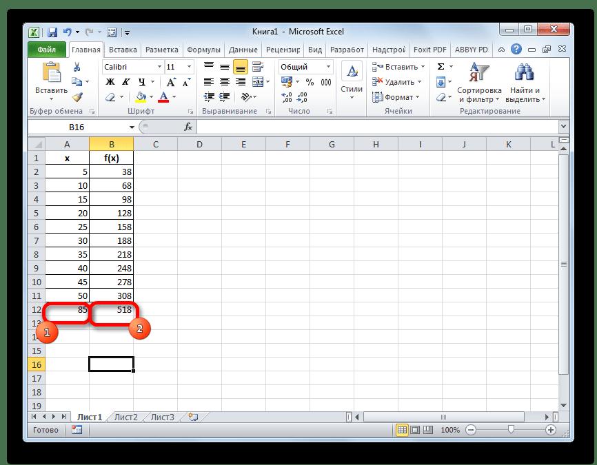 Значение функции для другого аргумента в Microsoft Excel
