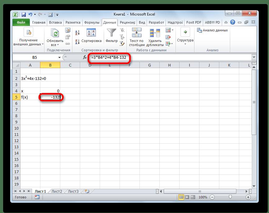 Значение f(x) в Microsoft Excel