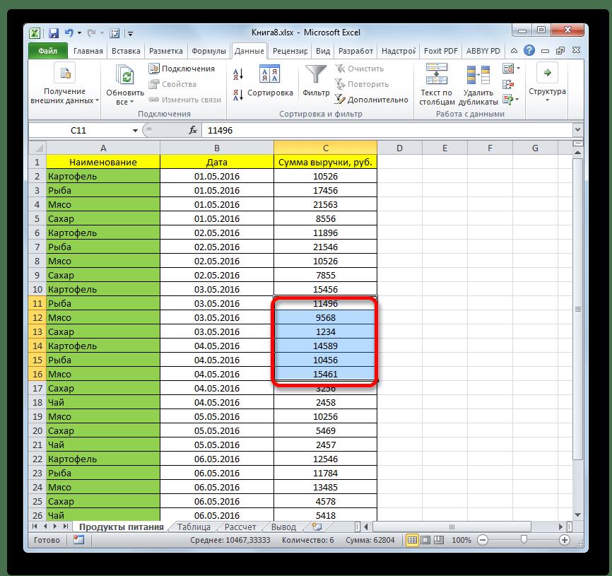 Значения отображены в Microsoft Excel