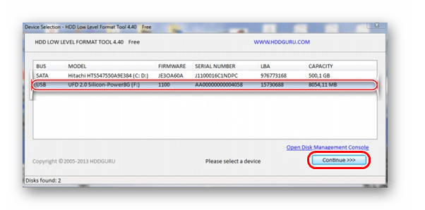 выбор флешки в HDD Low Level Format
