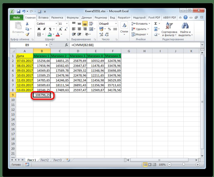 Автосумма для Магазина 1 подсчитана в Microsoft Excel