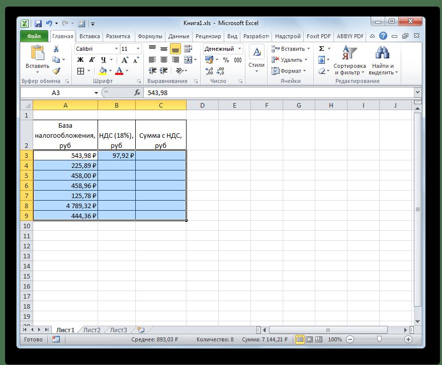 Данные преобразованы в денежный формат в Microsoft Excel